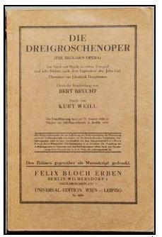 Originalomslaget till Brechts TOlvskillingoperan.