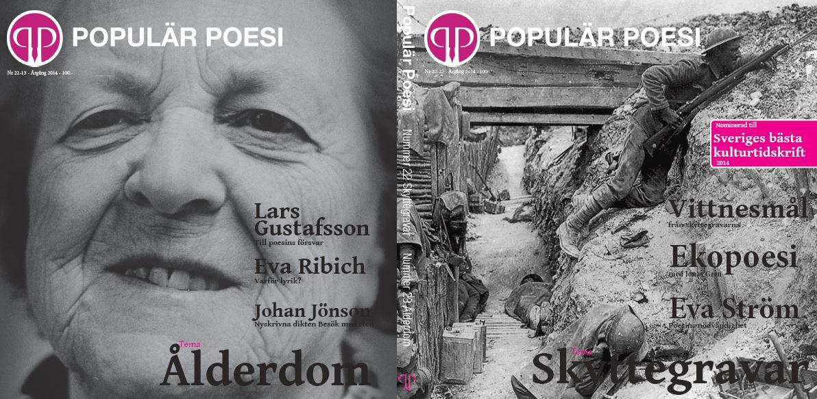 Nummer 22-23 av Populär Poesi handlar om Skyttegravar och Ålderdom och är det första tryckta nummer som innehåller exklusiva artiklar som bara finns i den tryckta upplagan.