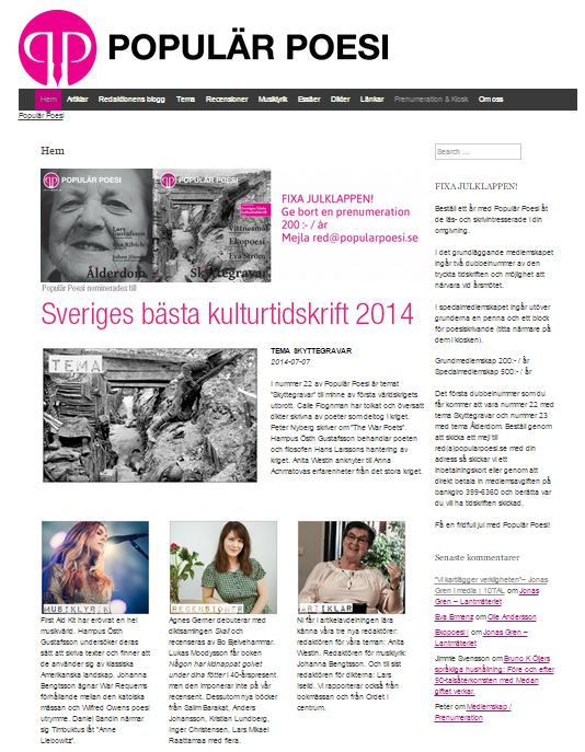 Populär Poesi nummer 23 Skyttegravar lades ut den 29 september 2014.