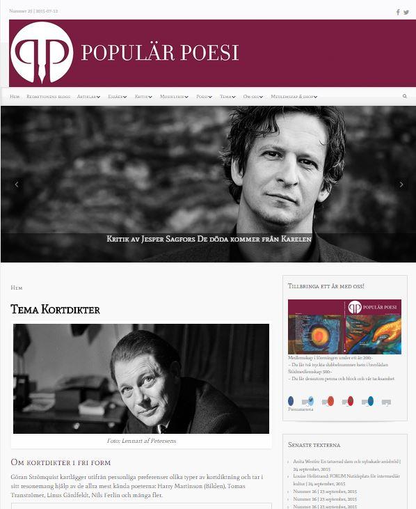 Populär Poesi fick ett nytt utseende på hemsidan i och med nummer 25, som lades ut den 12 juli 2015