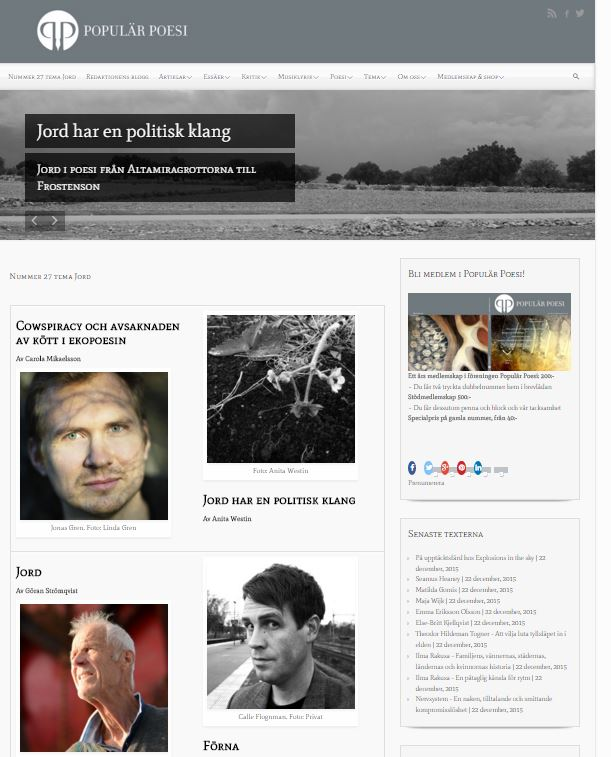 Populär Poesi nummer 27 med tema Jord lades ut den 22 december 2015.