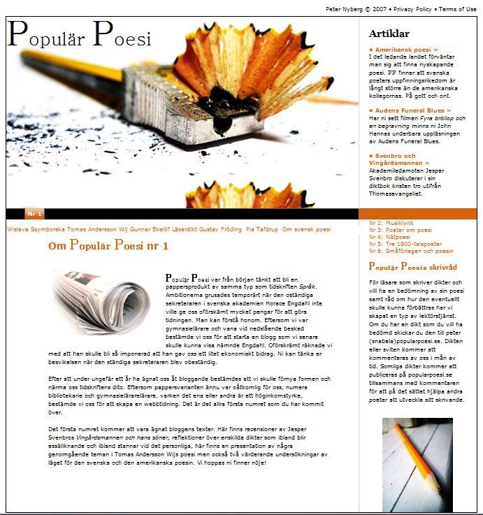 Populär Poesi nummer 1 Bloggen lades ut i augusti 2009
