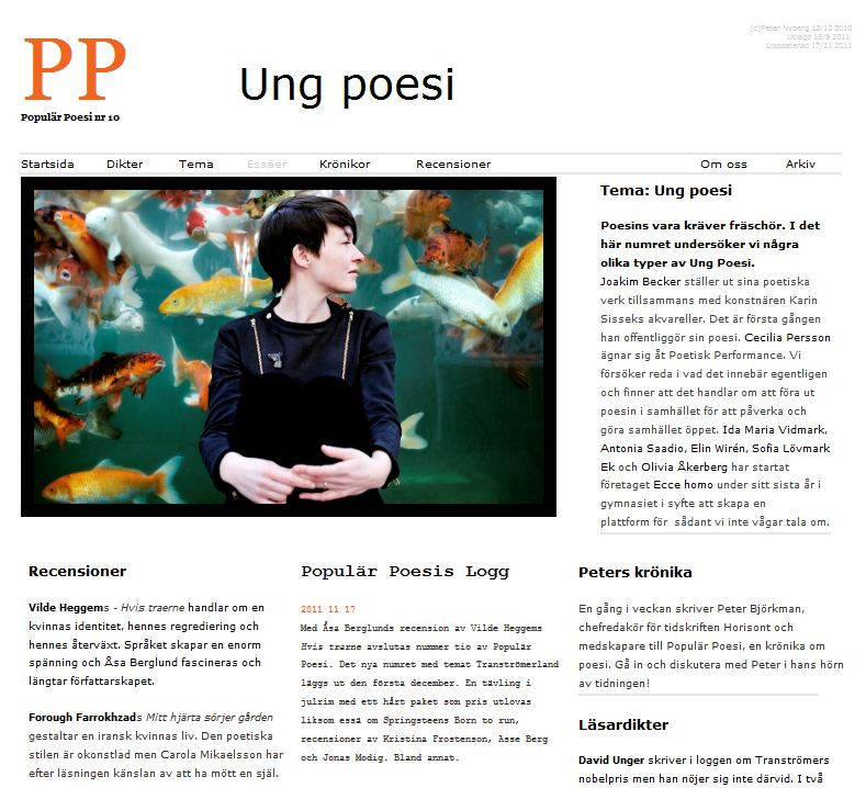 Populär Poesi nummer 10 med tema Ung poesi lades ut i september 2011.