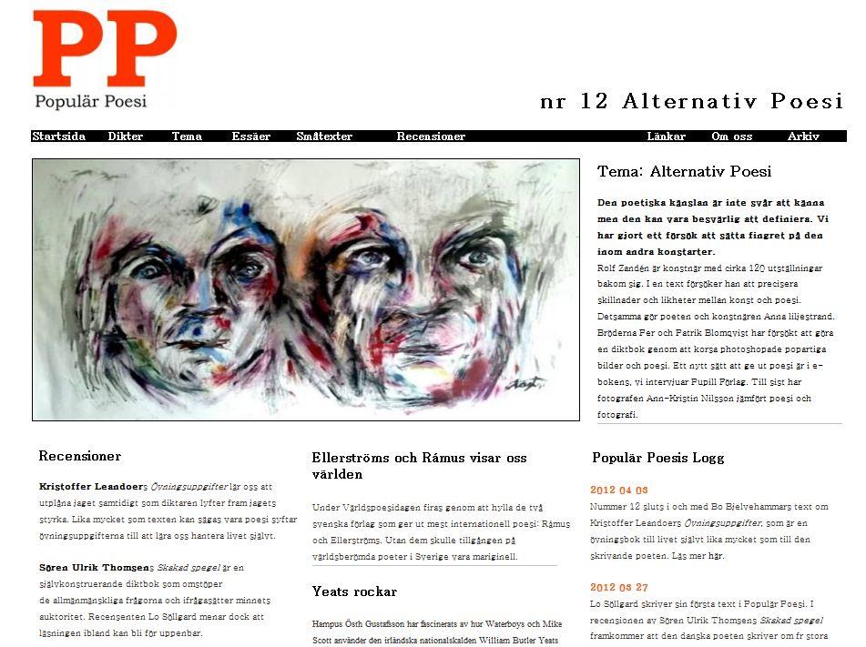 Populär Poesi nummer 12 med tema Alternativ poesi lades ut i februari 2012.