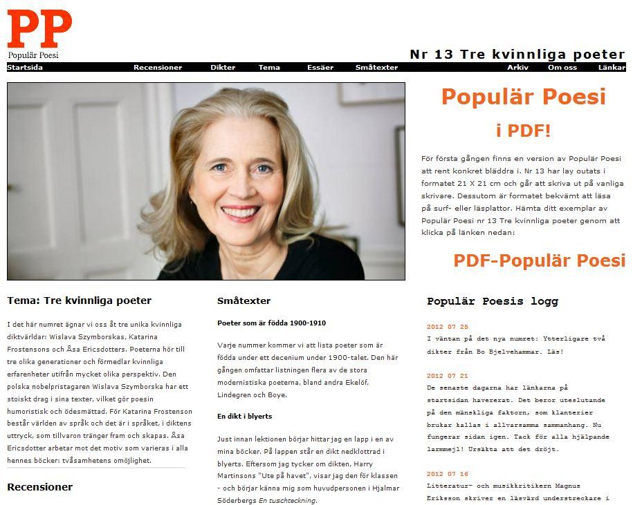 Populär Poesi nummer 13 med tema Tre kvinnliga poeter lades ut i maj 2012.