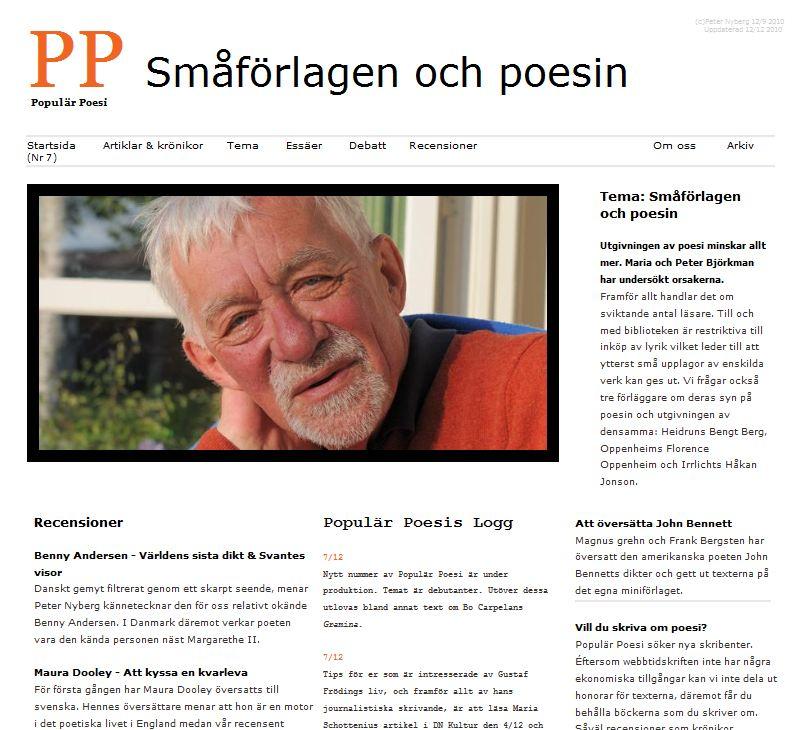 Populär Poesi nummer 6 med tema Småförlagen och poesin lades ut i september 2010.
