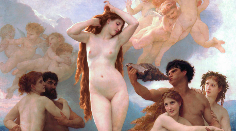 Del av William-Adolphe Bouguereaus Venus födelse.