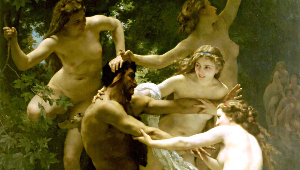 William-Adolphe Bouguereaus målning Nymfer och satyr.