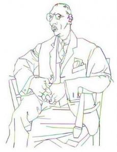 Stravinsky tecknad av Artur Grebstelis