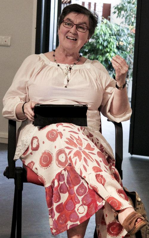 Populär Poesis nya temaredaktör Anita Westin föreläste om hur hon pedagogiskt har arbetat med poesi.