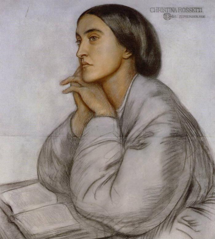 Christina Rosetti. Porträtt utfört av brodern Dante Gabriel Rosetti.