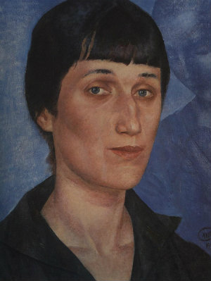 Kuzma Petrov Vodkins porträtt av Anna Achmontova från 1922