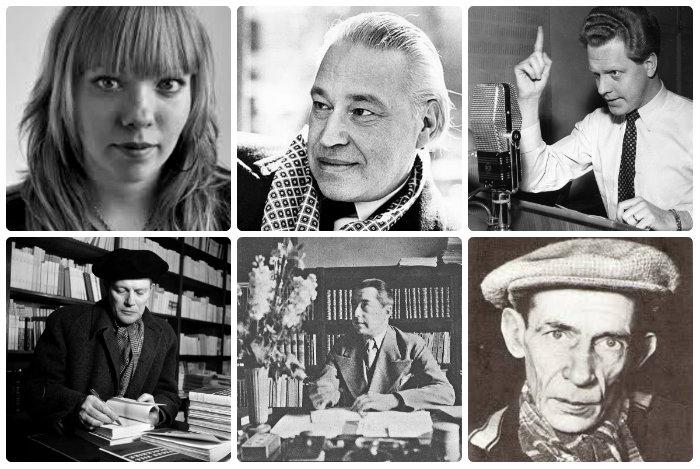 Jenny Wrangborg, Erik Lindegren, Tage Danielsson, Harry Martinson, Hjalmar Gullberg och Nils Ferlin.