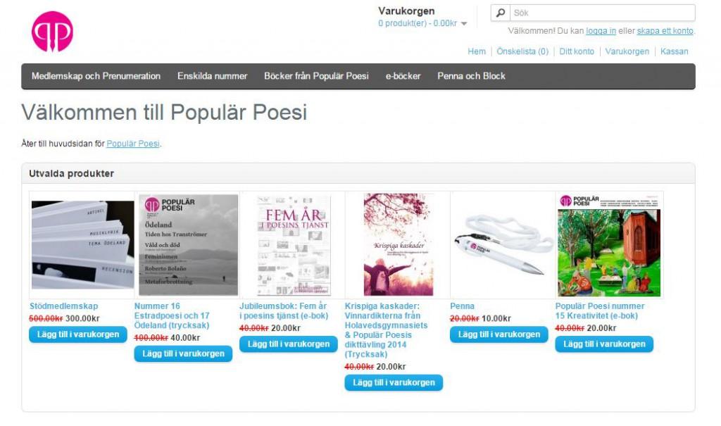 Populär Poesis Webshop läggs upp på shoppen.popularpoesi.se den 3 april 2015.