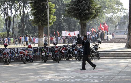 En demonstration i Dhaka.