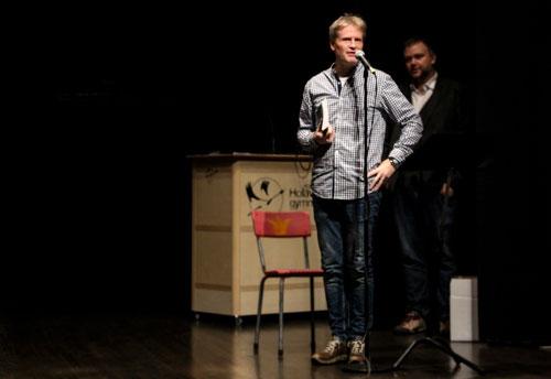 Kjell Johansson berättade om skapandet av vinnarantologin. Foto: Elsa Bergdahl.