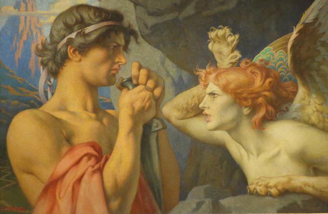 François Émile Ehrmann målning Oidipus och sfinxen.