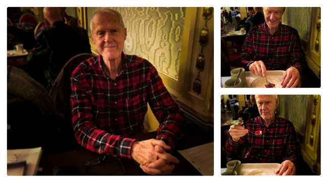 Göran Strömqvist intervjuas av Mats Hansson på Citykonditoriet. Foto: Mats Hansson.