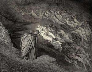 Gustav Dorés träsnitt av scenen där Vergilius och Dante träffar Tristan och Isolde där de sveps runt av helvetesvinden i de kättjefullas krets.