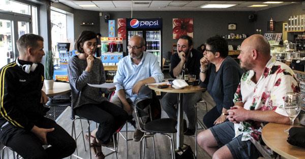 Under rubriken Skapande av kreativa utrymmen för berättande diskuterade författare från hela Europa hur litteraturen i Jönköpings län skulle utvecklas. Foto: Peter Nyberg.