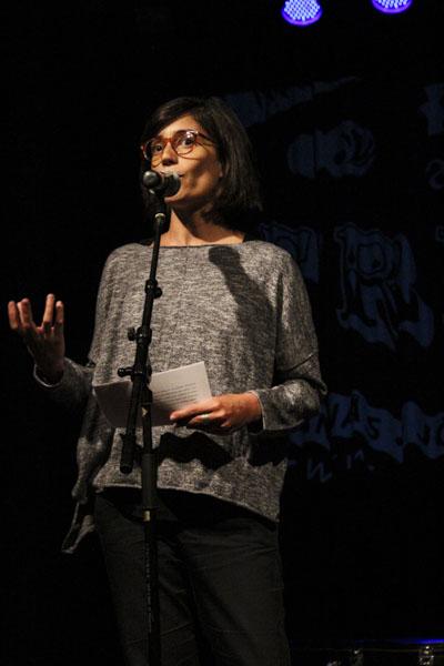 Portugisiska författaren och konstnären Inês Lampreia läste på portugisiska. Foto: Peter Nyberg.